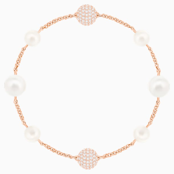 Swarovski Remix Collection Round Pearl Strand, weiss, Rosé vergoldet - Swarovski, 5365738