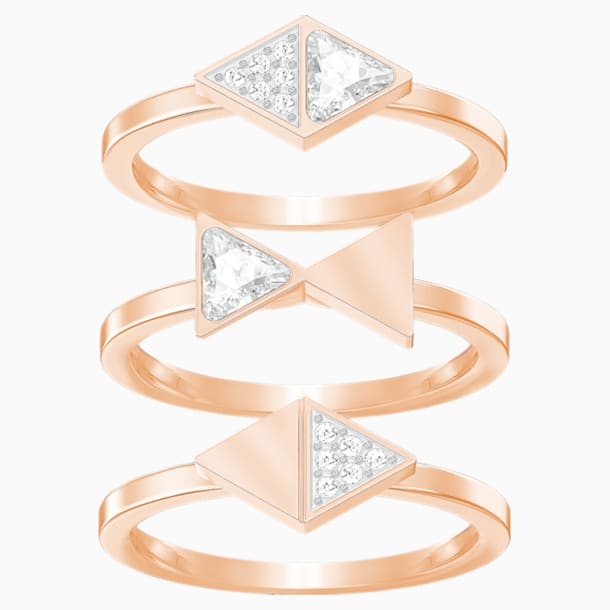 Heroism Ring Set, White, Rose-gold tone plated - Swarovski, 5366568