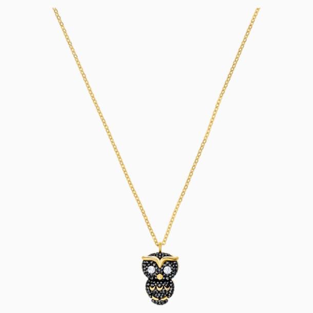 Little Owl Pendant, Multi-colored, Gold-tone plated - Swarovski, 5366714