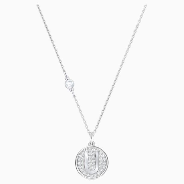 Letter U Pendant, White, Rhodium plating - Swarovski, 5367230