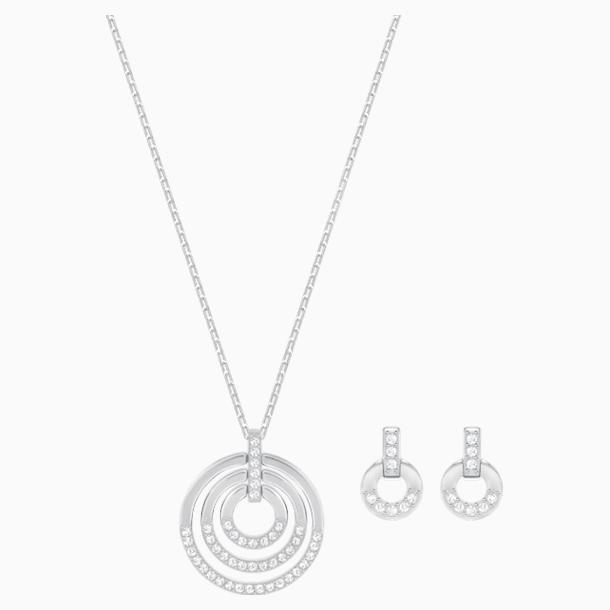 Parure Circle, medium, blanc, métal rhodié - Swarovski, 5367727