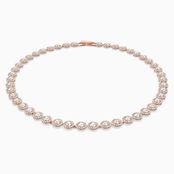 Κολιέ Angelic, λευκό, επιχρυσωμένο με χρυσή ροζ απόχρωση - Swarovski, 5367845