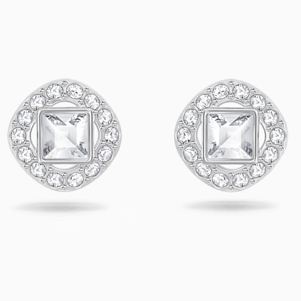 Angelic Square Pierced Earrings, White, Rhodium plated - Swarovski, 5368146