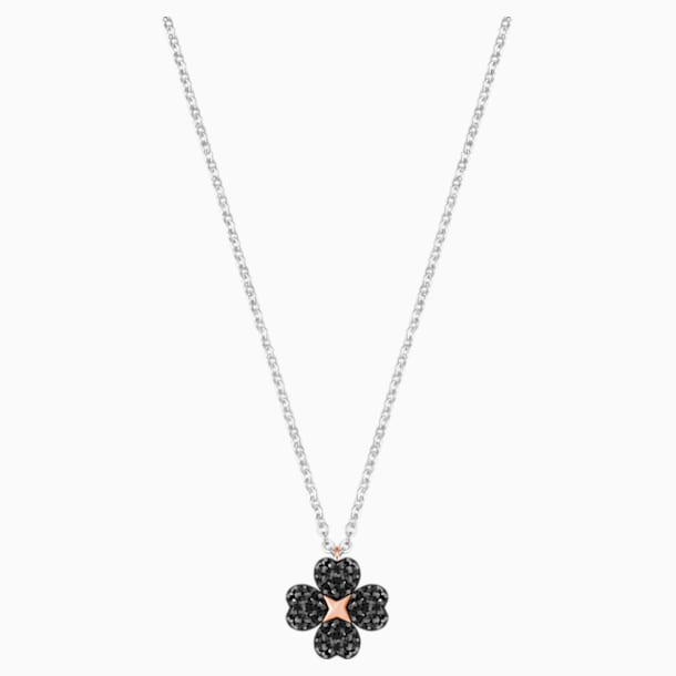 Latisha Flower Pendant, Black, Mixed metal finish - Swarovski, 5368980
