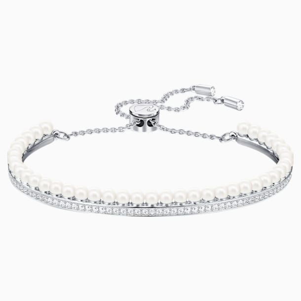 Lisboa Bangle, White, Rhodium plated - Swarovski, 5369741