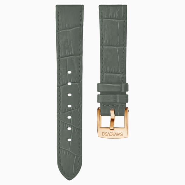 20mm Watch strap, Leather with stitching, Gray, Rose-gold tone plated - Swarovski, 5371982