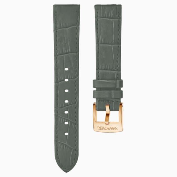 Cinturino per orologio 20mm, pelle con impunture, grigio, placcato color oro rosa - Swarovski, 5371982