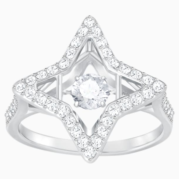 Sparkling Dance Star Ring, White, Rhodium plated - Swarovski, 5372933
