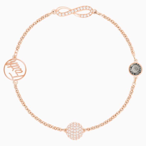 Swarovski Remix Collection Infinity Strand, Black, Rose-gold tone plated - Swarovski, 5373225