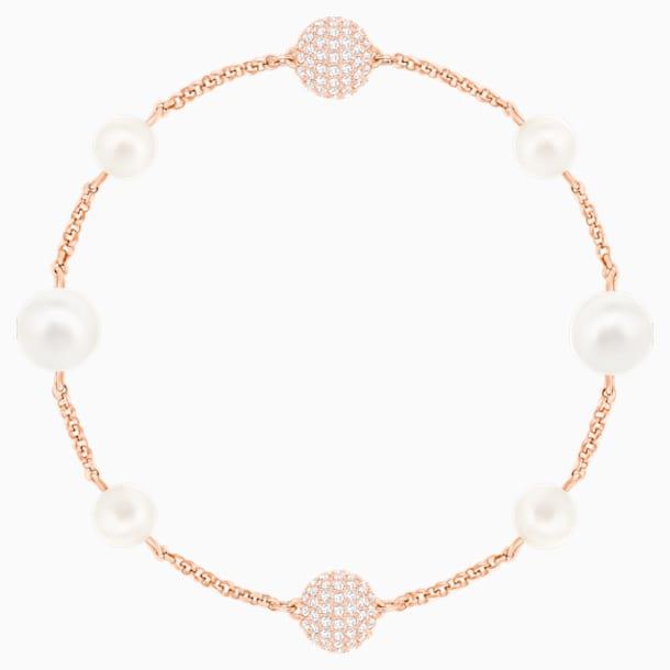 Swarovski Remix Collection Round Pearl Strand, White, Rose-gold tone plated - Swarovski, 5373260