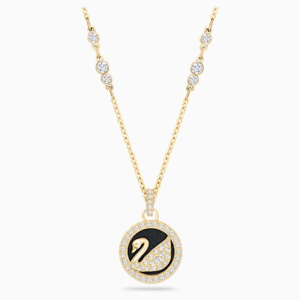 Leather Swan Pendant, White, Gold-tone plated - Swarovski, 5374919