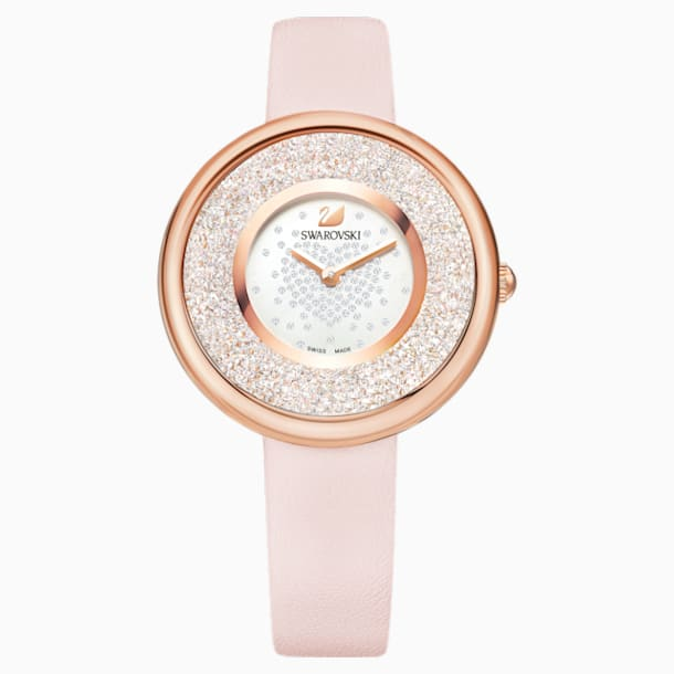 Crystalline Pure Watch, Leather strap, Pink, Rose-gold tone PVD - Swarovski, 5376086