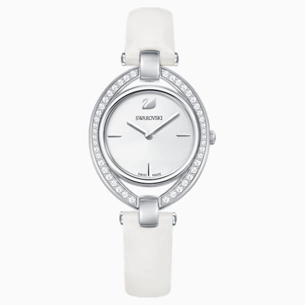 Montre Stella, Bracelet en cuir, blanc, acier inoxydable - Swarovski, 5376812