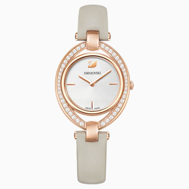 Stella Watch, Leather strap, Gray, Rose-gold tone PVD - Swarovski, 5376830