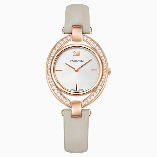 Stella Watch, Leather strap, Grey, Rose-gold tone PVD - Swarovski, 5376830
