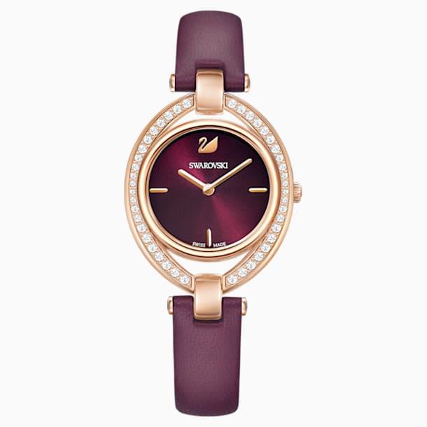 Montre Stella, Bracelet en cuir, rouge foncé, PVD doré rose - Swarovski, 5376839