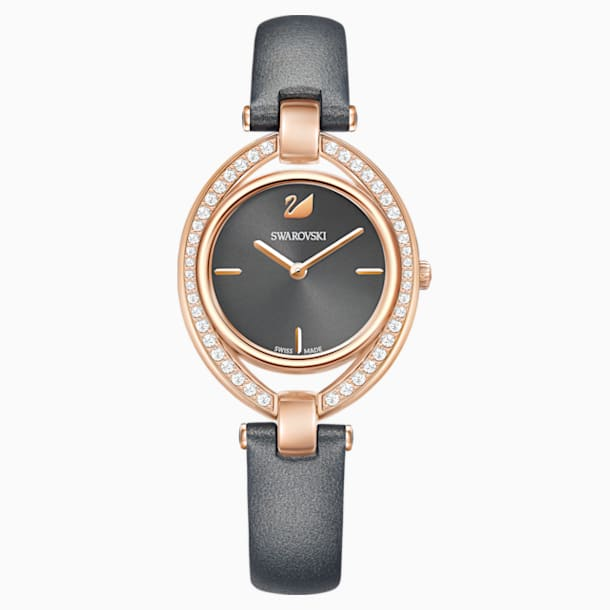 Stella Watch, Leather strap, Dark gray, Rose-gold tone PVD - Swarovski, 5376842
