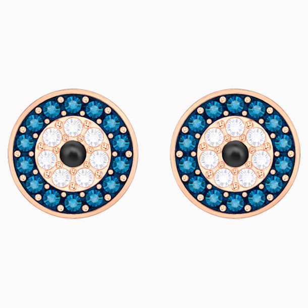Boucles d'oreilles Luckily Evil Eye, bleu, métal doré rose - Swarovski, 5377720