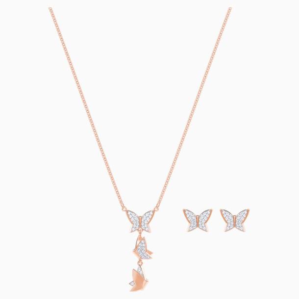 Lilia Set, White, Rose-gold tone plated - Swarovski, 5382365
