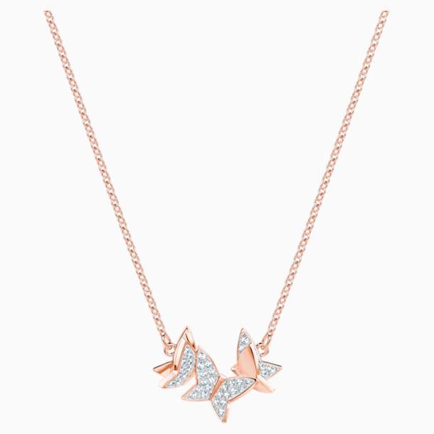 Collar Lilia, blanco, Baño en tono Oro Rosa - Swarovski, 5382366