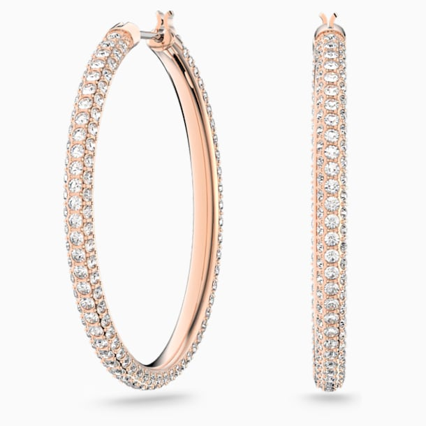 Τρυπητά σκουλαρίκια κρίκοι Stone, λευκά, επιχρυσωμένα σε χρυσή ροζ απόχρωση - Swarovski, 5383938