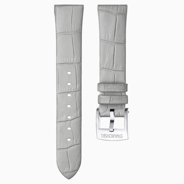 18mm Watch strap, Leather, Gray, Stainless Steel - Swarovski, 5384086