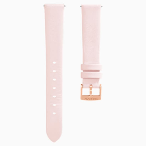 14mm Watch strap, Leather, Pink, Rose-gold tone plated - Swarovski, 5384098
