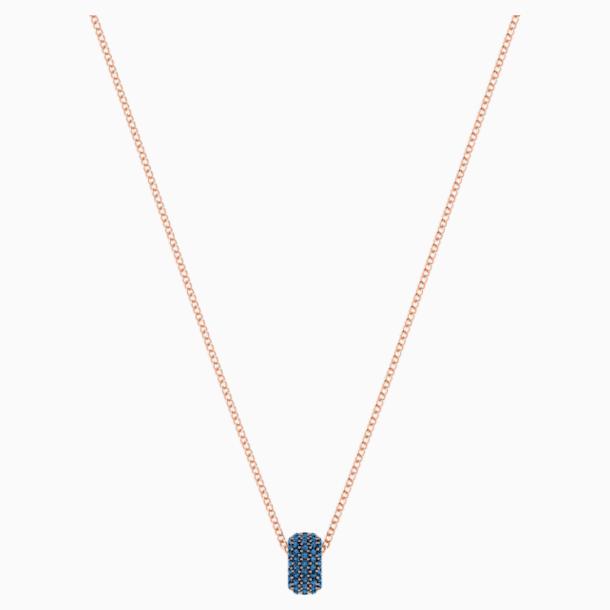 Stone Round Pendant, Blue, Rose-gold tone plated - Swarovski, 5389431