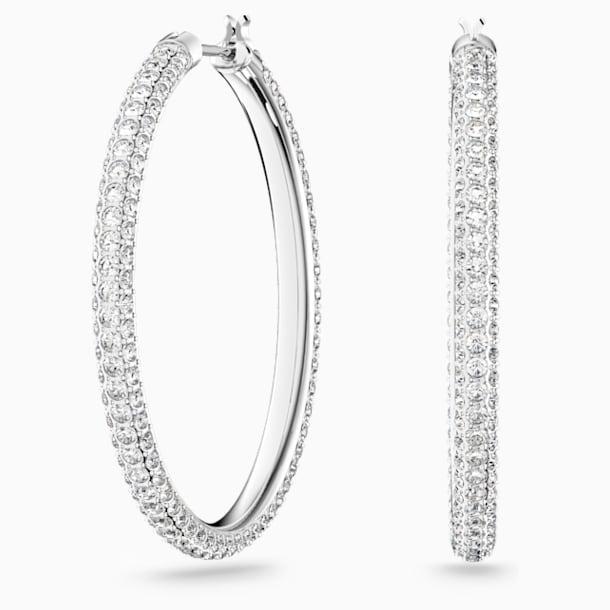 Stone Hoop Pierced Earrings, White, Rhodium plated - Swarovski, 5389432