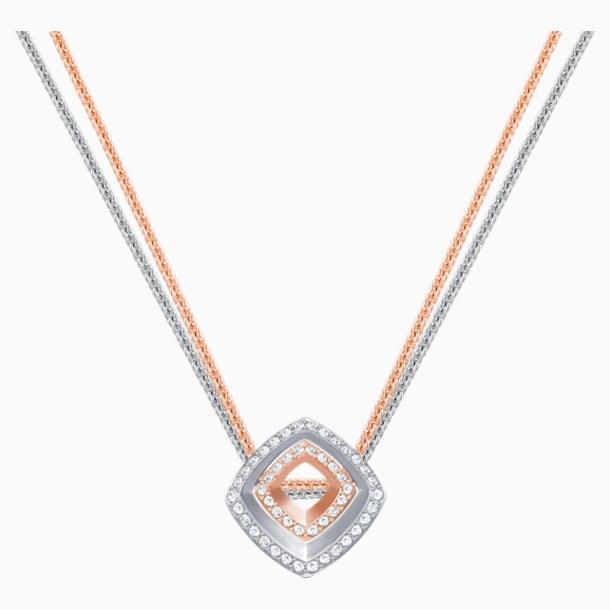 Pendentif Lovesome Square, blanc, combinaison de métaux plaqués - Swarovski, 5391328
