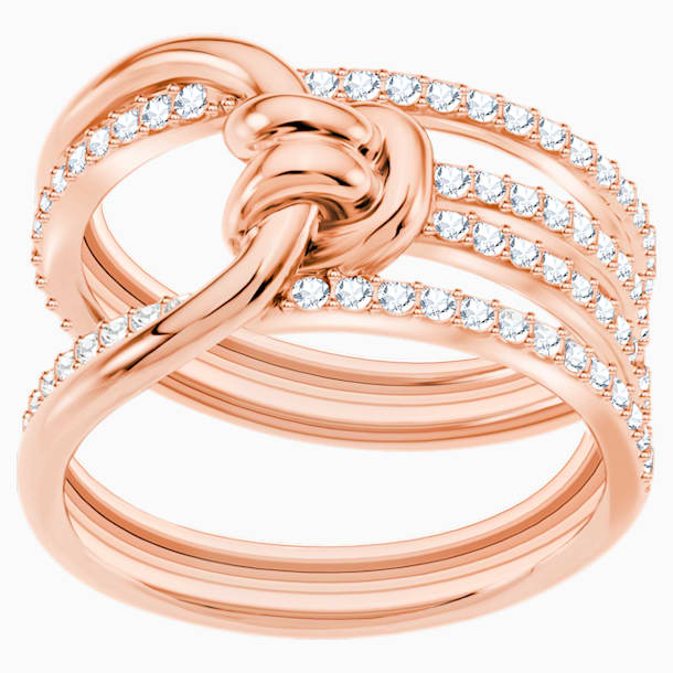 Lifelong 宽戒指, 白色, 镀玫瑰金色调 - Swarovski, 5402440