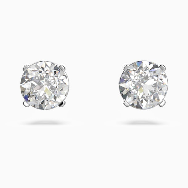 Attract Round Pierced Earrings, White, Rhodium plated - Swarovski, 5408436
