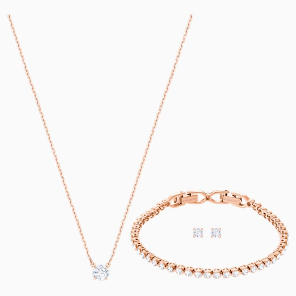 Attract Emily Set, White, Rose-gold tone plated - Swarovski, 5408438