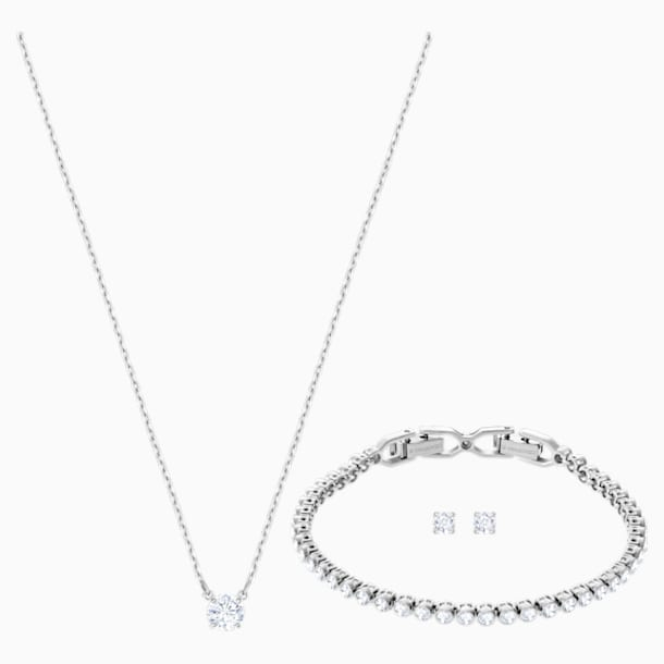 Attract Emily Set, White, Rhodium plating - Swarovski, 5408443
