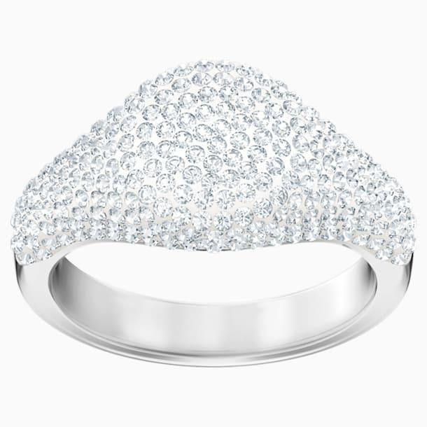 Stone Signet Ring, White, Rhodium plated - Swarovski, 5409181