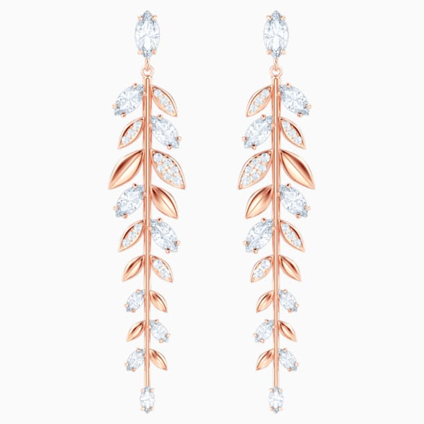Mayfly Pierced Earrings, White, Rose-gold tone plated - Swarovski, 5410410