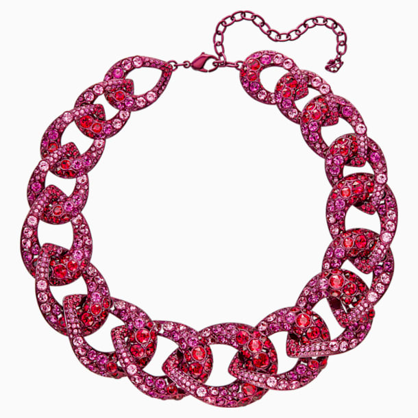 Tabloid Necklace, Multi-colored, Pink lacquer plating - Swarovski, 5410988