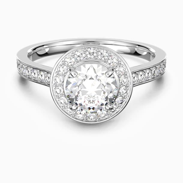 Attract Round Ring, White, Rhodium plated - Swarovski, 5412024