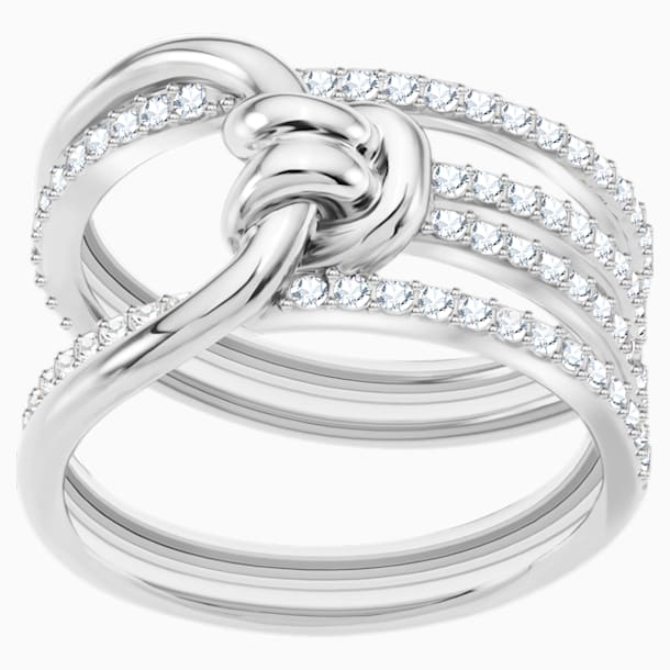 Lifelong Wide Ring, White, Rhodium plated - Swarovski, 5412039