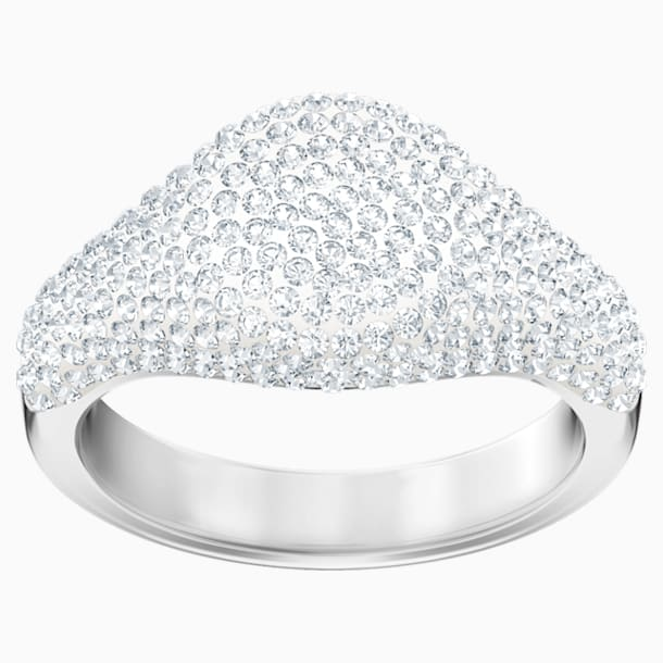 Stone Signet Ring, White, Rhodium plated - Swarovski, 5412051
