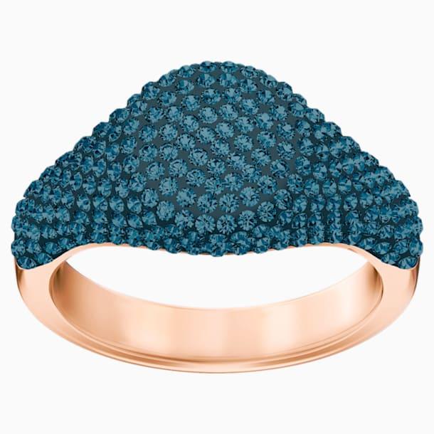 Stone Signet Ring, Blue, Rose-gold tone plated - Swarovski, 5412067
