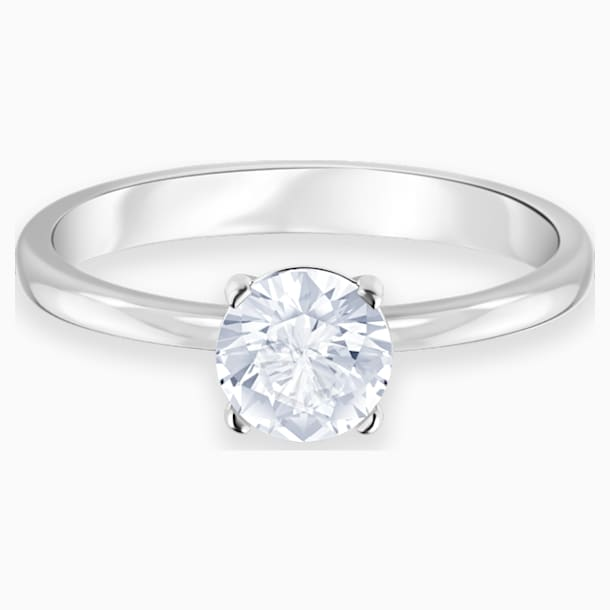Attract Ring, White, Rhodium plated - Swarovski, 5412078