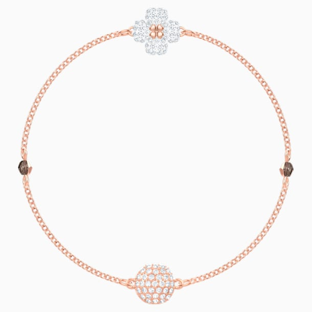 Swarovski Remix Collection Clover Strand, White, Rose-gold tone plated - Swarovski, 5412324