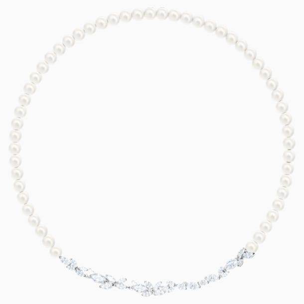 Louison Pearl Necklace, White, Rhodium plated - Swarovski, 5414693