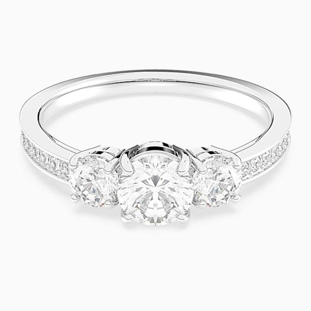 Attract Trilogy Round Ring, White, Rhodium plated - Swarovski, 5414972