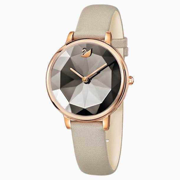 Crystal Lake 手錶, 真皮錶帶, 灰色, 玫瑰金色調PVD - Swarovski, 5415996