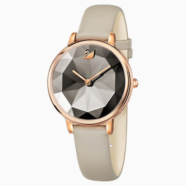 Crystal Lake Watch, Leather strap, Grey, Rose-gold tone PVD - Swarovski, 5415996