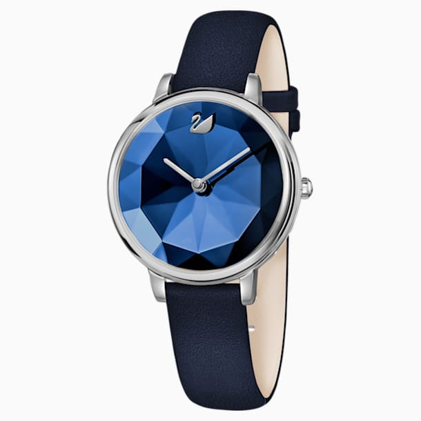 Crystal Lake Watch, Leather strap, Blue, Stainless steel - Swarovski, 5416006