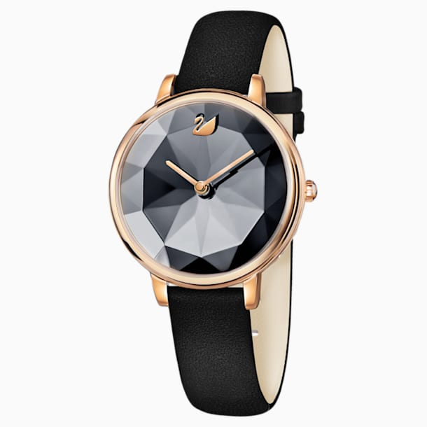 Crystal Lake Watch, Leather strap, Black, Rose-gold tone PVD - Swarovski, 5416009