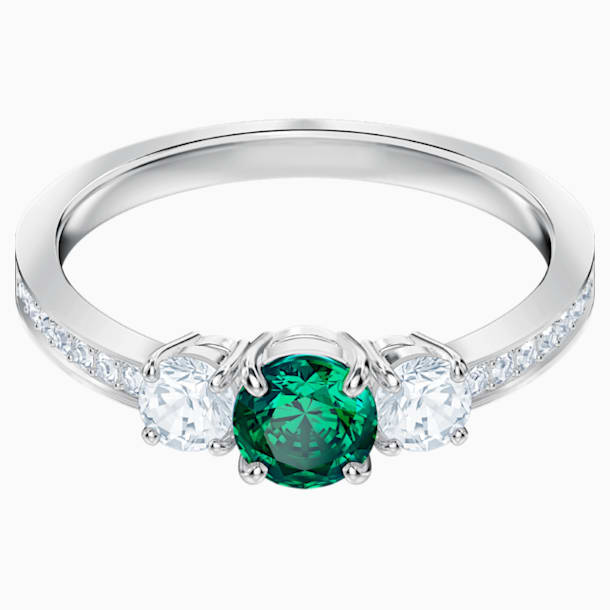 Attract Trilogy Round Ring, Green, Rhodium plated - Swarovski, 5416151